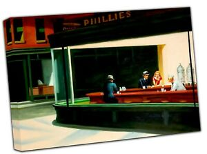 Edward Hopper Nighthawks Picture Photo Print On Framed Canvas Wall Art Home