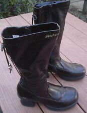 Skechers Brown Vegan Side Zip Back Laced Mid Calf Chunky Heel Boots 5 M VGC