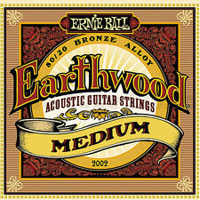 Ernie Ball 2002 Earthwood Acoustic 80/20 bronze Guitar Strings 13-56 medium