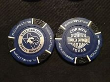 "Harley Poker Chip (Blue & Black) ""American Eagle"" Corinth, Texas ORIGINAL ART"