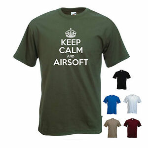 'Keep Calm and Airsoft' Paintball Combat Army Funny T-shirt Tee