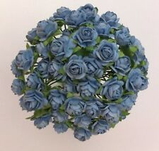 50 BLUE MULBERRY PAPER OPEN ROSES/FLOWERS 1cm (10mm) and 1.5cm (15mm)