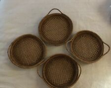 Set Of 4 Wicker Ratan Plate Holder Chargers With Handles Hippie Boho
