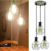 INDUSTRIAL WIRE CAGE 3WAY RETRO CEILING PENDANT LIGHT/LAMP SHADE SILVER EASY FIT