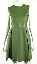 GUCCI $3,200 Sage Green Leather & Silk Crepe Sleeveless A-Line Dress 40
