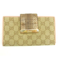 Gucci Wallet Purse Long Wallet G logos Pink Beige Woman Authentic Used Y4914