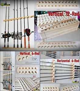 Fishing Rod Racks 6 or 12 Storage Easy Wall Handmade Wood Sports Hunting Holder