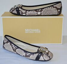 New $110 Michael Kors Fulton Moc Natural Embossed Snake Print Leather Flats sz 7