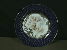 "Exquisite Fritz & Floyd Porcelain ""Les Anges"" Blue/Gold Cherub Plate,Indonesia"