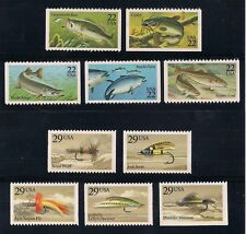 Fish & Fishing Flies - Set Of 10 U.S. Postage Stamps - Mint Condition