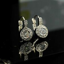 earrings Sleeper Round Is White Gold CZ Inlaid Class Marriage G3 1