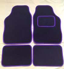 4 PIECE BLACK WITH PURPLE TRIM CAR MATS FOR FIAT PUNTO 500 BRAVO PANDA STILO