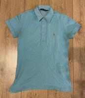 Ralph Lauren Women's Polo T Shirt Blue Medium Short Sleeve Cotton Blend