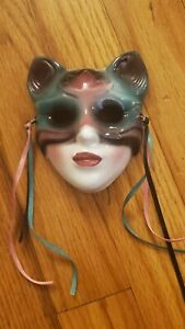 Vintage San Francisco Clay Art Cat Mardi Gras Type Miniature Mask