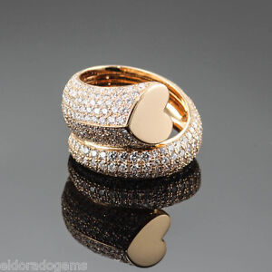 CHOPARD 2.12 CT. PAVE DIAMOND HEART WRAP RING 827419-5046 18K ROSE GOLD US5.5