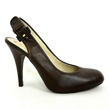 "Ted Baker Heels UK 8 Brown Leather Sling Back Buckle 4.5"" Stiletto Court"