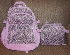 girls gymboree lavender leopard backpack lunch box combo set nwt