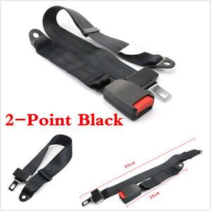 1 Set Car Auto Seat Belt Lap 2 Point Safety Travel Adjustable Black Universal