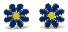 Sterling silver stud earrings blue and yellow daisy