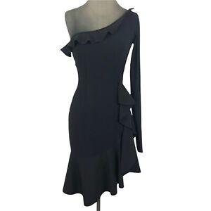La Petite Robe di Chiara Boni Womens Dress 42 A-Line One Shoulder Ruffle Black