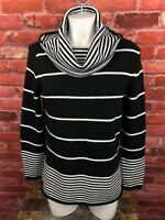 Pure Handknit Sweater Size M/L Black White Cotton Knit Cowl Neck (192)