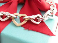 """Tiffany & Co Silver 18K Gold Heart Link Necklace 16.25"""""""