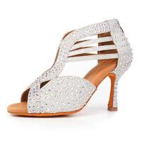 Ballroom Latin Tango Heeled Dance Shoes With Rhinestones Salsa For Women Girls