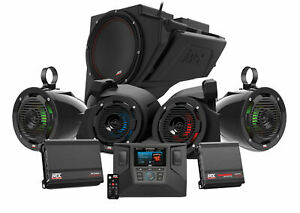 MTX RZR-14-THUNDER5 Receiver+Front+Tower Speakers+Sub For Polaris RZR 1000/900