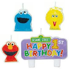 Sesame Street 1st birthday PARTY CANDLES first supplies ELMO Cookie Big Bird 4pc