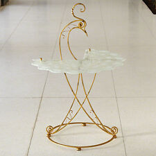 Gold Whimsical Peacock Table with Glass top