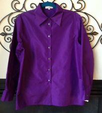 nwt CELINE Paris purple 100% silk blouse button front size 40 8