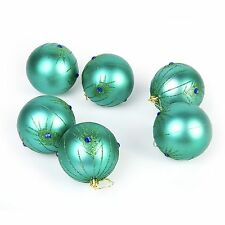 6 Pc Luxury 8cm Christmas Tree Baubles Decoration Set - Turquoise Peacock