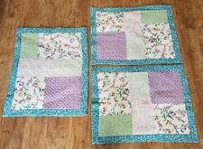 """Set of 3 Cotton Quilt Patchwork Floral Design Pillow Shams 24"""" x 30"""" Blue Purple"""