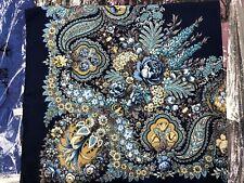 Pavlovo Posad shawl. Scarf. Russian Shawl without Fringe (100x100 cm)