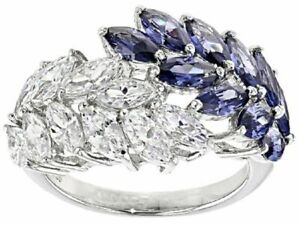 Elegant Silver Plated Feather Amethyst Sapphire Ring Women Anniversary Gift Sz 9
