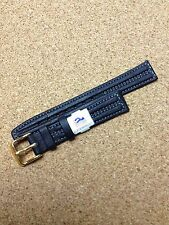 16mm BLACK STRAP High Quality HIRSCH LEATHER STITCHED WATCH BAND Waterproof  NEW