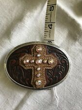 Large Western Rodeo Cross Belt Buckle Brown Tooled Leather Rhinestones NWT 4x3""