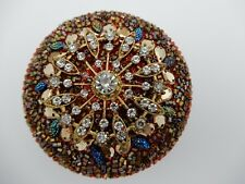 Ornate Rhinestone Jeweled and Beaded Red Tin Trinket Jewelry Box 3 Inch