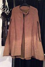 Vintage Camel Boho Indie Cape Coat Fully Lined Arm Slits Flat Fur