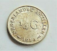 1954 NETHERLANDS ANTILLES, Silver, 1/4 Gulden grading Choice UNCIRCULATED.