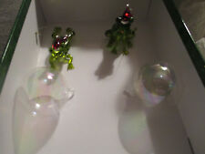 Blown Glass pair of green frog in Santa hats  and a pair of blown glass bubbles