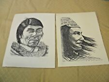 Original Art Sketches of Native American Indians by Paul Monis or Paul Morris