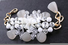 Impresionante Marni Pulsera Gris Perlas sequins&stones Cadena De Oro Nuevo Con Bolsa Antipolvo