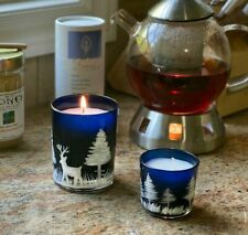 Blue Unscented Votive Candle with Hand-painted Winer Theme, 1 pc, Small