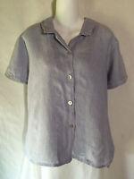 FLAX Jeanne Engelhart Basic Blue Linen Button Shirt Tunic Top Small Medium S M