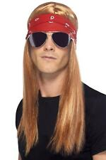 MENS 90's ROCKER KIT ADULT 90s AXL ROSE GUNS 'N' ROSES LONG FANCY DRESS MALE WIG