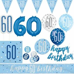 60. Birthday Party Decoration Blue Mann Light Geburtstagsparty Set