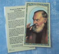 Saint St. Pio with Prayer to Padre Pio of Pietrelcina - Laminated Holy Card