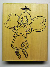 Angel with Star 3-1/2 x 4-1/2 Inches  Wood-mounted  Rubber Stamp  Anitas New