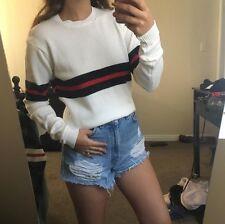 brandy Melville super soft Beige/red/navy striped crewneck Abi knit sweater